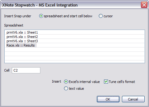 XNote Stopwatch / Web Online Help - Excel integration